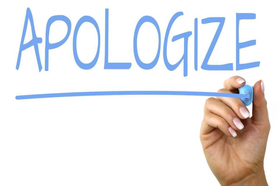 Apologizing!